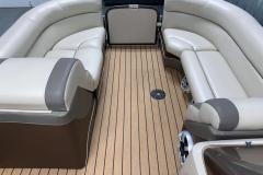 Teak Weave Vinyl Flooring on the 2017 Premier 250 Solaris RF Pontoon Boat