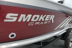 Raised Smoker Craft Logo of the 2022 Smoker Craft 161 Pro Angler Fishing Boat