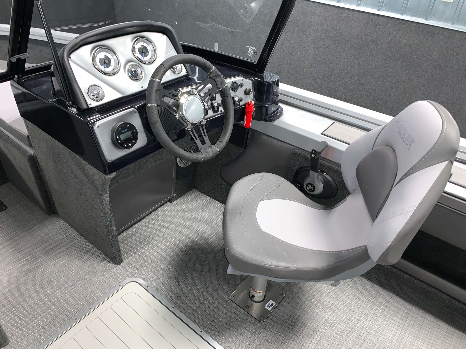 Driver's Console of a 2021 Smoker Craft 172 Explorer Fish And Ski Boat
