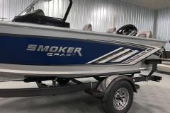 Chrome Emblem of a 2021 Smoker Craft 172 Explorer Fish And Ski Boat