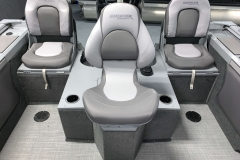 Flip-Up Rear Jump Seats of a 2021 Smoker Craft 172 Explorer Fish And Ski Boat