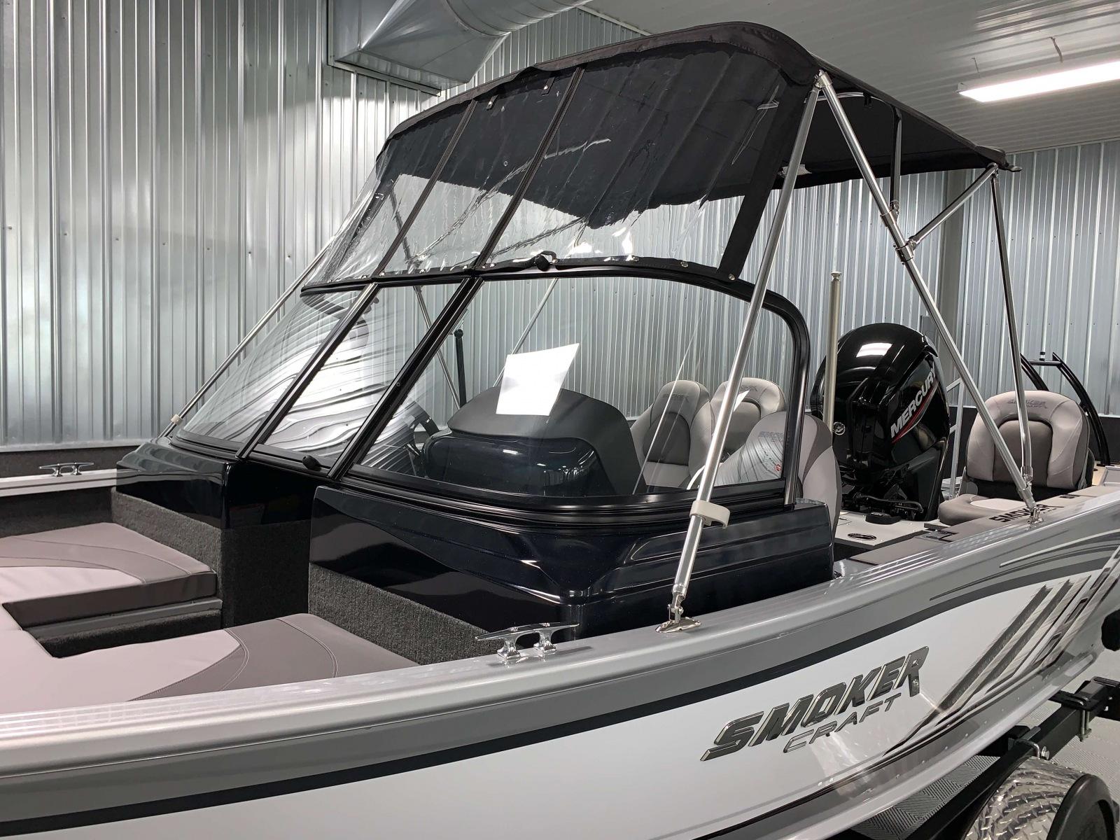 Fisherman's Top Visor of a 2021 Smoker Craft 172 Explorer Fish And Ski Boat