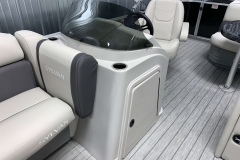 Helm and Captain's Chair of a 2022 Sylvan Mirage 820 Cruise Pontoon