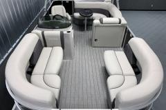 Teak Weave Vinyl Flooring of the 2022 Sylvan Mirage 820 Cruise Pontoon