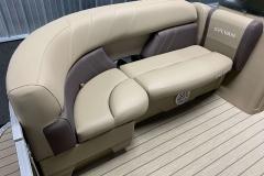 Tan Interior Seating of a 2021 Sylvan Mirage 820 Cruise Pontoon 2