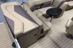 Tan Interior Seating of a 2021 Sylvan Mirage 820 Cruise Pontoon 3