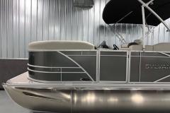 Carbon Exterior Color of a 2021 Sylvan Mirage 8520 Cruise Tritoon Boat