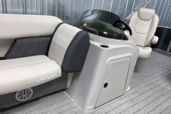 Helm Storage of a 2021 Sylvan Mirage 8520 Cruise Tritoon Boat