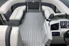 Interior Bow Layout of a 2021 Sylvan Mirage 8520 Cruise Tritoon Boat 2