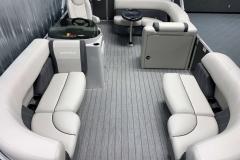 Teak Weave Vinyl Flooring of a 2021 Sylvan Mirage 8520 Cruise Tritoon Boat