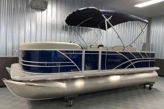 Blue Exterior Color of a 2021 Sylvan 8520 Party Fish Pontoon Boat