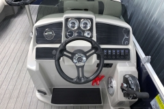 Driver's Console of a 2021 Sylvan 8520 Party Fish Pontoon Boat