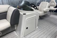 Helm of a 2021 Sylvan 8520 Party Fish Pontoon Boat