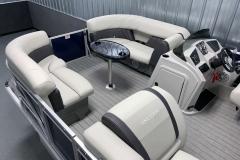 Interior Bow Layout of a 2021 Sylvan 8520 Party Fish Pontoon Boat