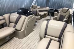 Brown Interior Accents on the 2021 Sylvan L1 LZ Pontoon Boat