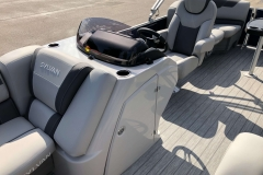 Helm Storage of the 2021 Sylvan L1 LZ Pontoon Boat