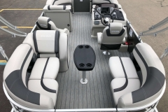 Teak Weave Vinyl Flooring of the 2021 Sylvan L1 LZ Pontoon Boat