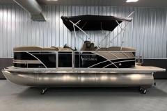 Black and Tan Color of a 2022 Sylvan L1 LZ Tritoon Boat
