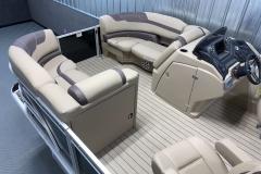 Interior Bow Layout of a 2022 Sylvan L1 LZ Tritoon Boat