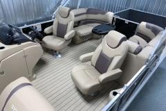 Interior Rear Layout of a 2022 Sylvan L1 LZ Tritoon Boat
