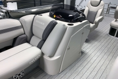 Helm Storage of the 2021 Sylvan L3 DLZ Pontoon Boat