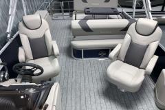 Dual Captain's Chairs of the 2022 Sylvan L3 DLZ Pontoon Boat