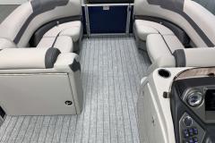 Teak Weave Vinyl Flooring of the 2022 Sylvan L3 DLZ Pontoon Boat