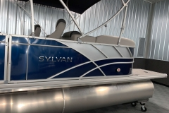 Silver Exterior Accents of the 2021 Sylvan L3 LZ Tritoon Boat