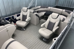 Interior Rear Layout of the 2021 Sylvan L3 LZ Tritoon Boat