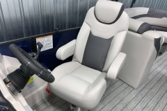 High Back Helm Chair of the 2021 Sylvan L3 LZ Tritoon Boat