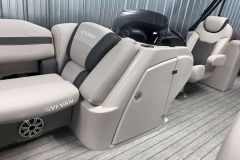 Helm Storage of the 2021 Sylvan L3 LZ Tritoon Boat