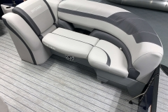 Grey Interior Accents of the 2021 Sylvan L3 LZ Tritoon Boat