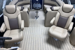 High Back Captain's Chairs of the 2021 Sylvan L3 LZ Tritoon Boat
