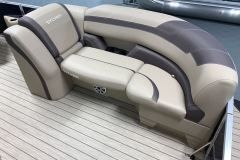 Brown Interior Accents of the 2021 Sylvan L3 LZ Tritoon Boat