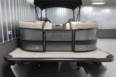 Bow Swim Deck of the 2021 Sylvan L3 LZ Tritoon Boat
