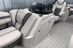 Helm Storage of the 2021 Sylvan L3 LZ Tritoon Boat