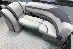 Grey Interior Accents of the 2021 Sylvan L3 LZ Tritoon Boat