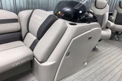 Helm Storage of the 2022 Sylvan L3 Party Fish Pontoon Boat