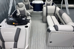 Interior Rear Layout of the 2022 Sylvan L3 Party Fish Pontoon Boat