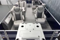 Teak Weave Vinyl Flooring of the 2022 Sylvan L3 Party Fish Pontoon Boat