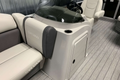 Helm and Captain's Chair of a 2022 Sylvan 8520 Cruise Pontoon