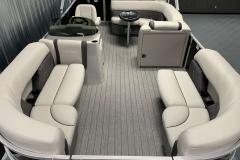 Teak Weave Flooring of a 2022 Sylvan 8520 Cruise Pontoon