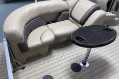 Tan Furniture Color of a 2021 Sylvan Mirage 8520 LZ Tritoon Boat