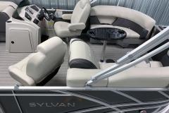 Interior Rear Layout of a 2021 Sylvan Mirage 8520 LZ Tritoon Boat