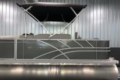 Chrome Sylvan Emblem of a 2021 Sylvan Mirage 8520 Party Fish Pontoon Boat
