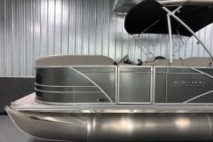 Carbon Exterior Color of a 2021 Sylvan Mirage 8520 Party Fish Pontoon Boat