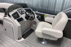 Fiberglass Console of a 2021 Sylvan Mirage 8520 Party Fish Pontoon Boat