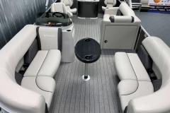 Teak Weave Vinyl Flooring of a 2021 Sylvan Mirage 8520 Party Fish Pontoon Boat