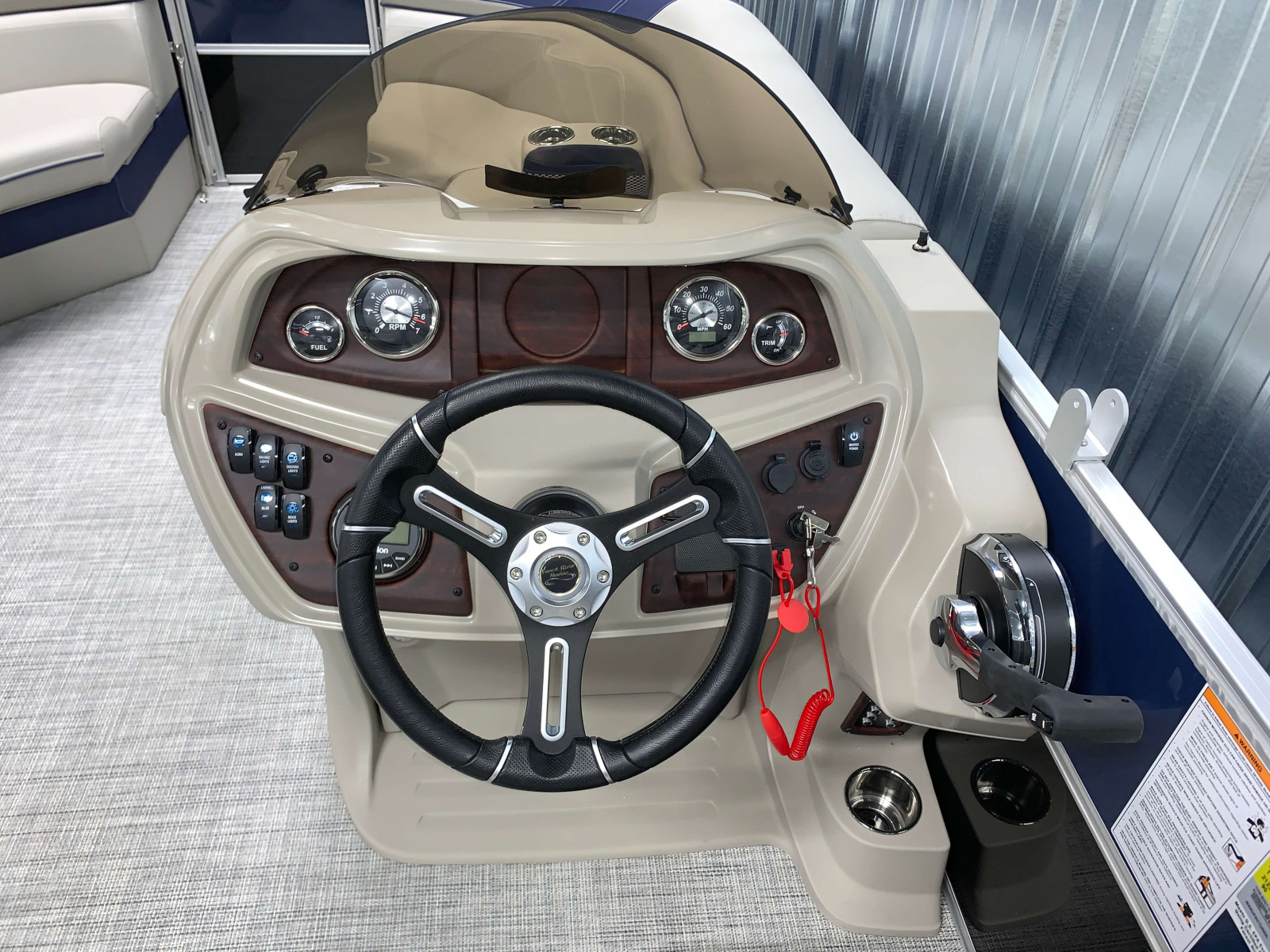 Helm of the 2021 Berkshire 20CL LE Pontoon Boat