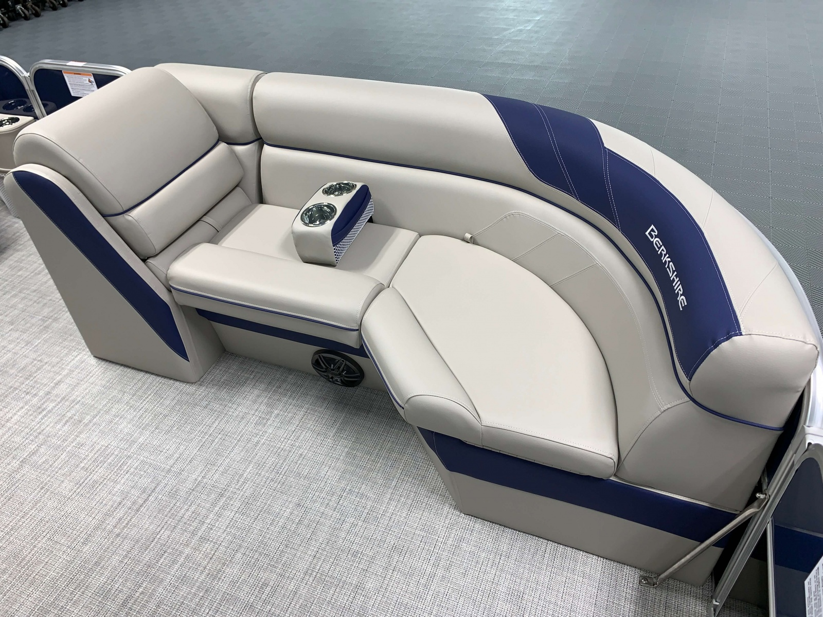 Navy Blue Accented Interior on the 2021 Berkshire 24RFX LE Pontoon Boat